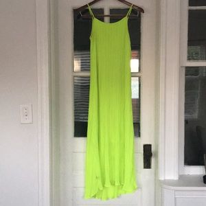 Neon Yellow Pleated Maxi